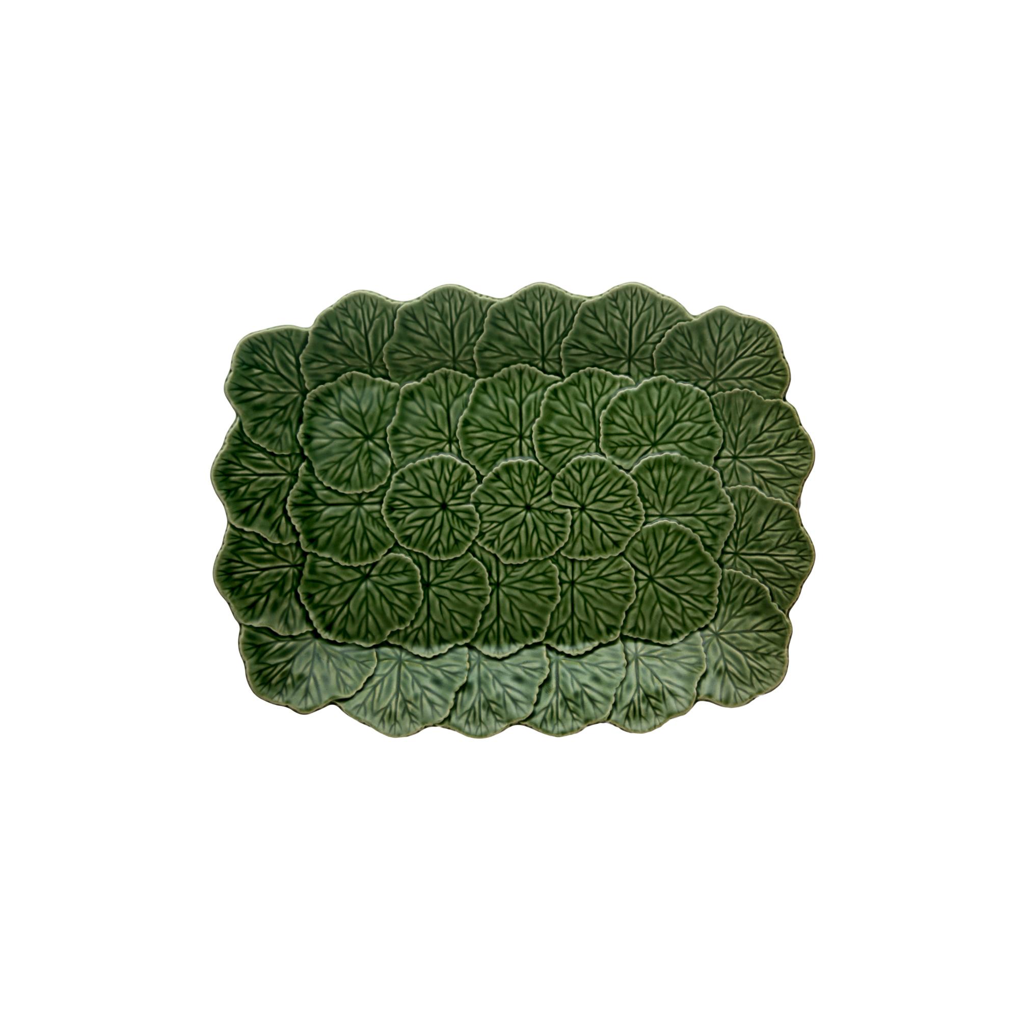 Bordallo Pinheiro Geranium Green Relief Platter