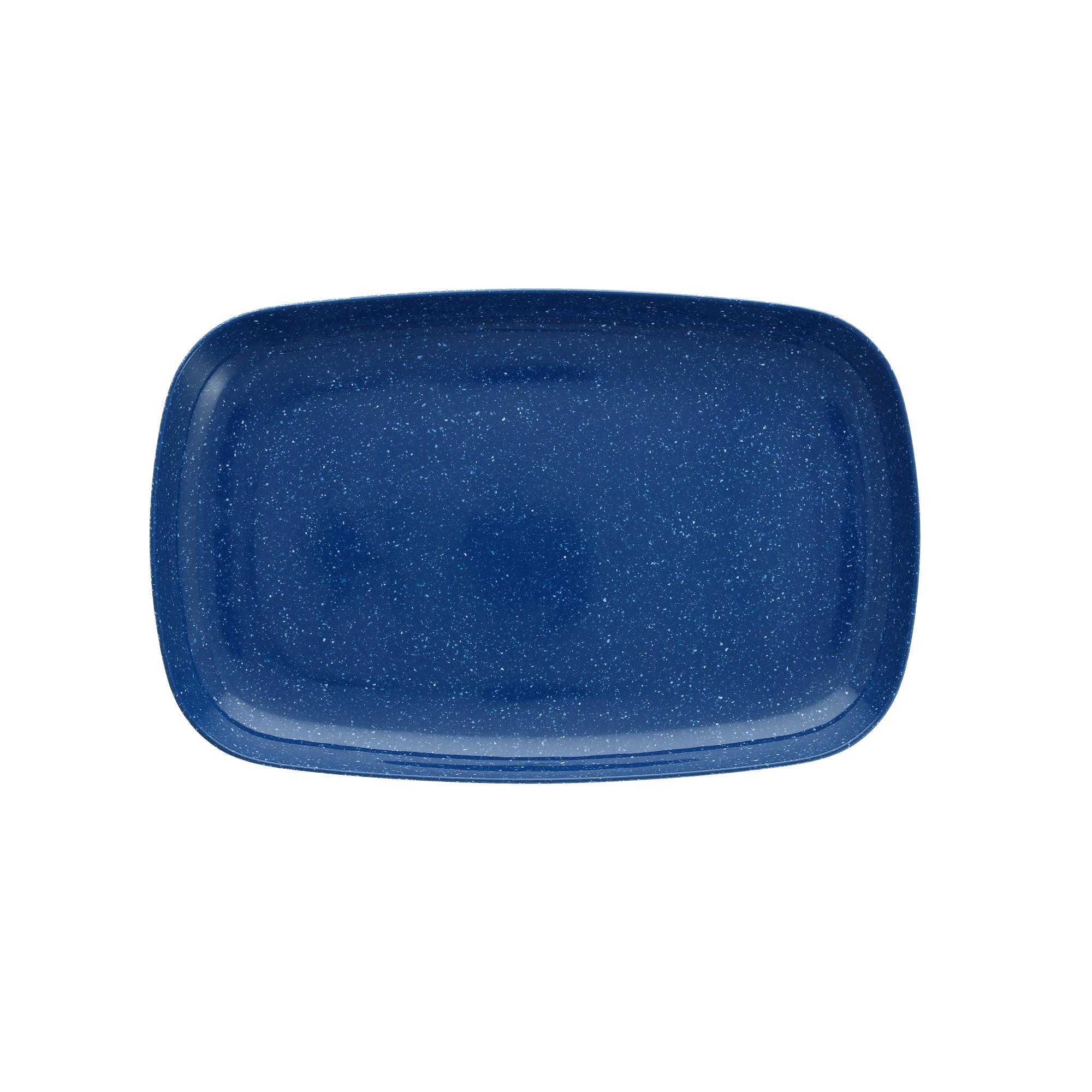 Fortessa Camp Blue Melamine Rectangular Coupe Platter, Set of 4